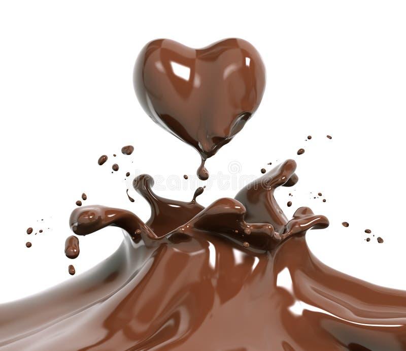 Rendição do chocolate 3d do respingo ilustração do vetor