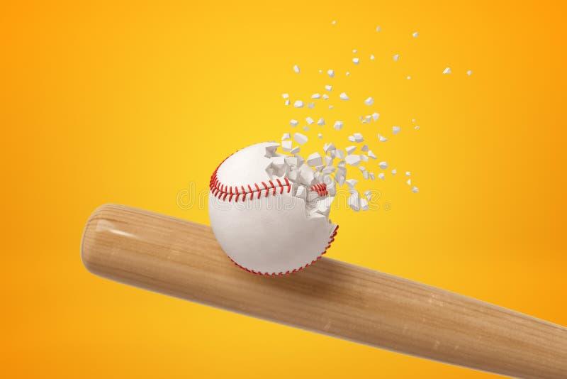 rendição do close-up 3d do bastão de madeira que bate o basebol branco e que faz com que comece quebrar em partes pequenas no âmb imagens de stock
