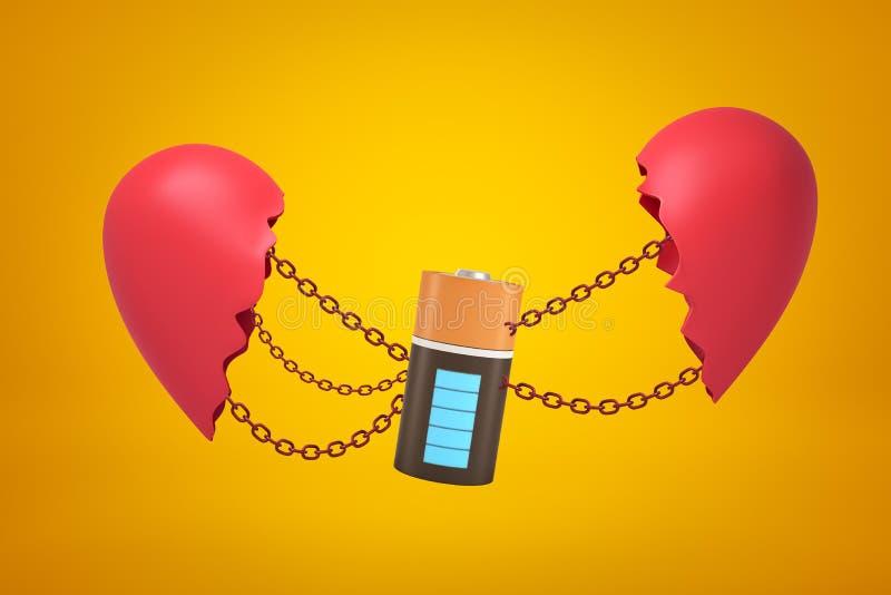 rendição do close up 3d da bateria elétrica suspendida em correntes entre duas porções de coração quebrado no fundo ambarino ilustração do vetor