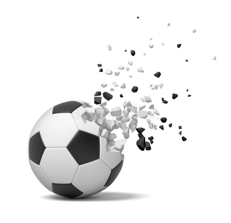 rendição do close-up 3d do futebol que começa quebrar em partes e desaparecer no fundo branco ilustração royalty free