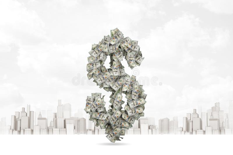 rendição do close-up 3d do símbolo do dólar composta de cédulas do dólar com a cidade moderna no fundo imagem de stock royalty free