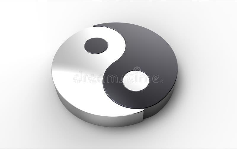 Rendição do computador de um símbolo de Yin Yang ilustração do vetor