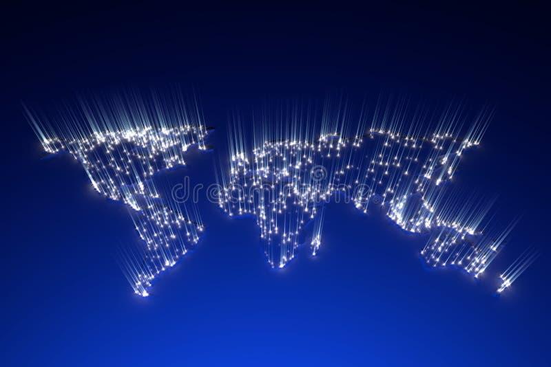 Rendição do conceito 3d da energia global do mapa imagens de stock royalty free