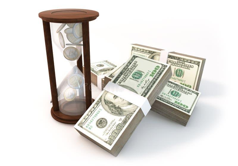 A rendição do conceito 3d inventa a ampulheta de financeiro com muito ilustração stock