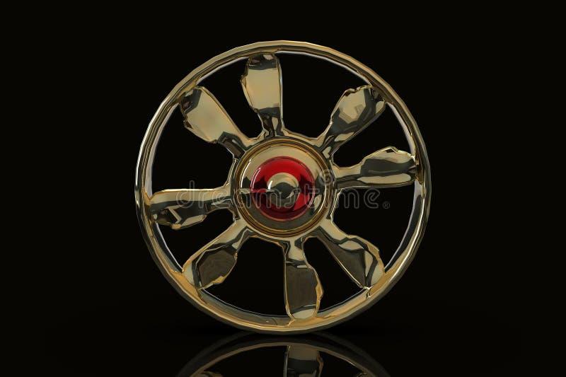 Rendição do disco 3D do carro de aço ilustração stock
