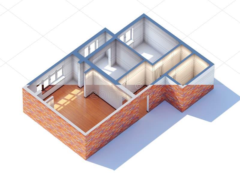 Rendição do esboço 3d do esboço do planeamento do design de interiores da casa ilustração stock