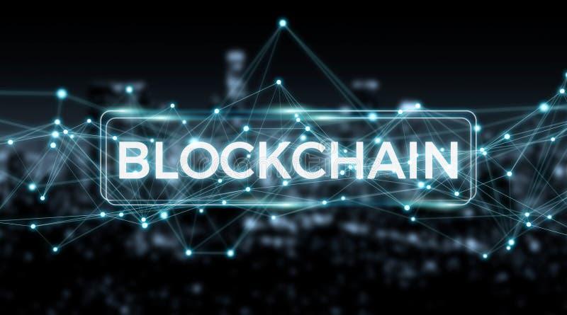 Rendição do fundo 3D da conexão de Blockchain ilustração do vetor