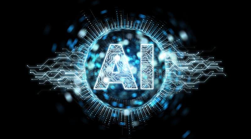 Rendição do holograma 3D do texto da inteligência artificial de Digitas