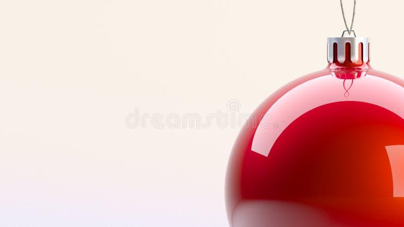 rendição do Natal 3D da bola vermelha do Natal foto de stock royalty free