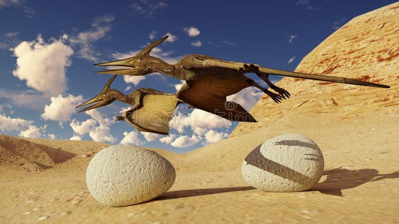 Rendição do ovo e do pterodátilo 3d ilustração do vetor