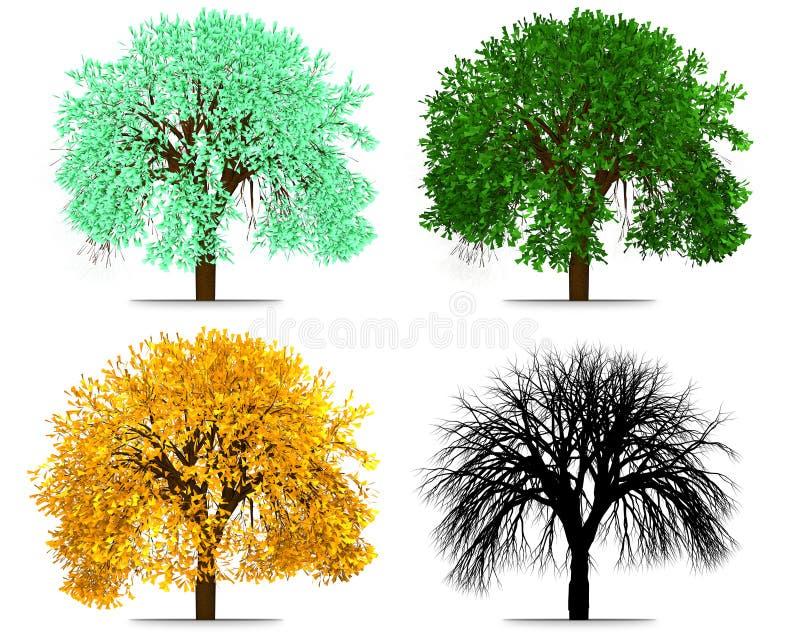 Rendição do sumário da árvore de quatro estações ilustração stock