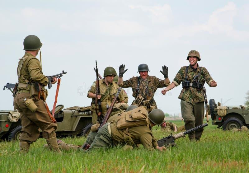 Rendição dos soldados fotografia de stock