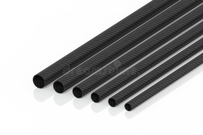 A rendição dos tubos 3d da fibra do carbono nas tubulações modelo não é um fundo branco ilustração royalty free