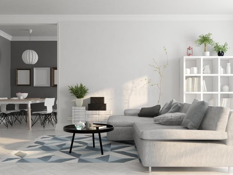 Rendição escandinava do design de interiores 3D do estilo ilustração do vetor