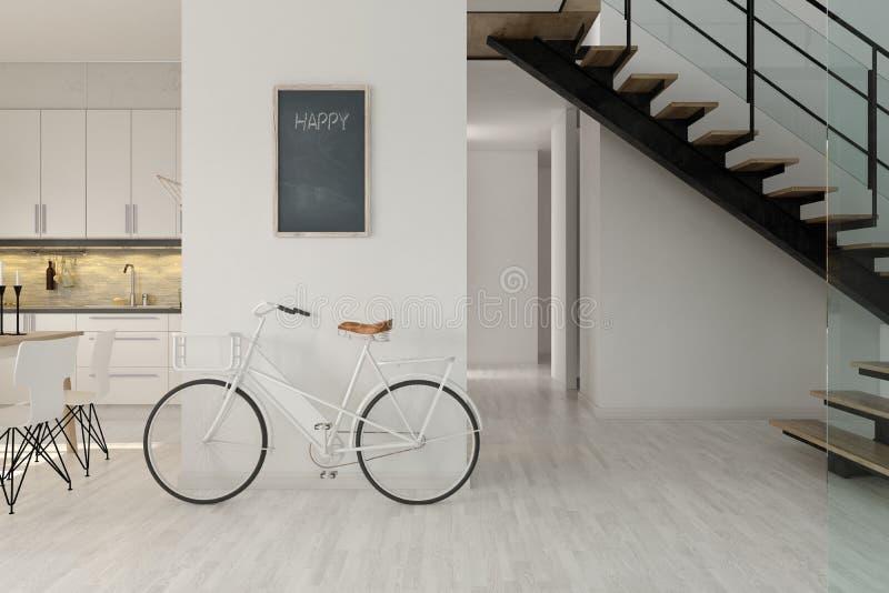 Rendição escandinava do design de interiores 3D do estilo ilustração royalty free