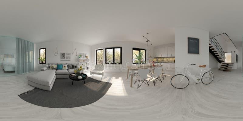 Rendição escandinava do design de interiores 3D do estilo 360 da projeção esférica do panorama ilustração stock