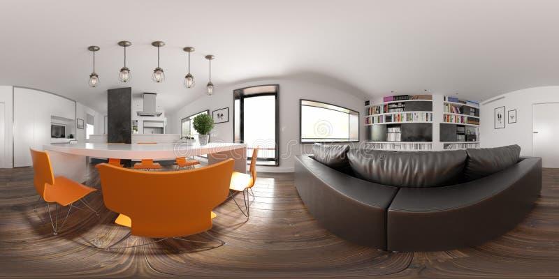 Rendição escandinava do design de interiores 3D do estilo 360 da projeção esférica do panorama ilustração do vetor