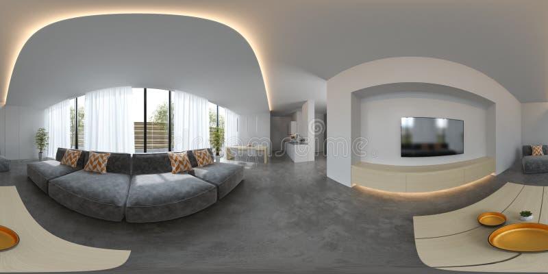 Rendição escandinava do design de interiores 3D do estilo 360 da projeção esférica do panorama ilustração royalty free