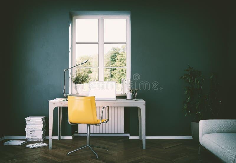 Rendição escura do design de interiores 3d do escritório domiciliário da parede do vintage ilustração stock