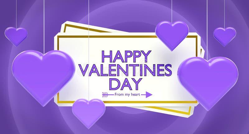 Rendição feliz dos cumprimentos 3d do dia de Valentim