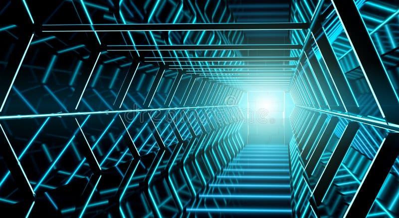 Rendição futurista escura do corredor 3D da nave espacial ilustração royalty free