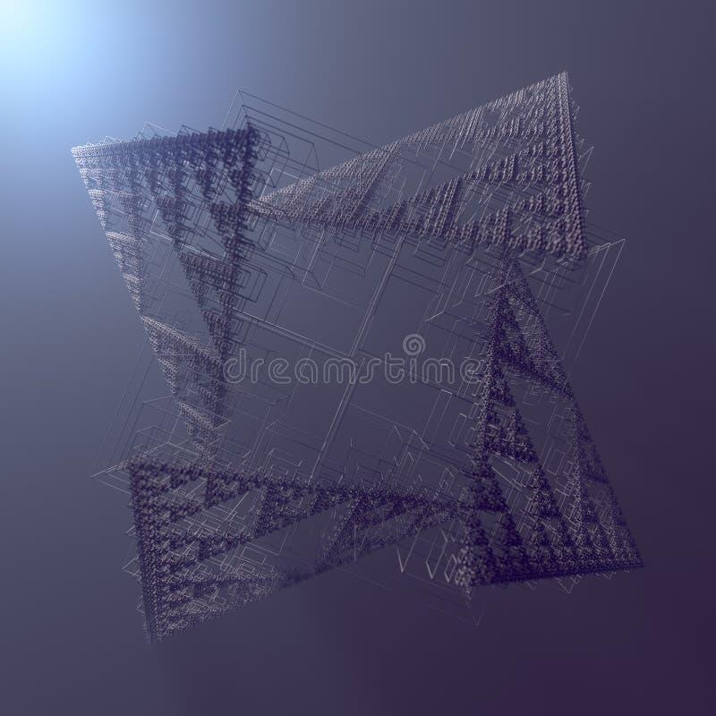 Rendição geométrica abstrata da forma 3d do fractal do fio ilustração do vetor