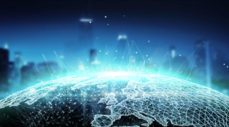 Rendição global da visão mundial 3D do sistema das conexões ilustração royalty free