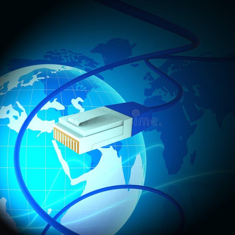 Rendição interconectada da relação 3d da tecnologia do mundo do globo ilustração stock