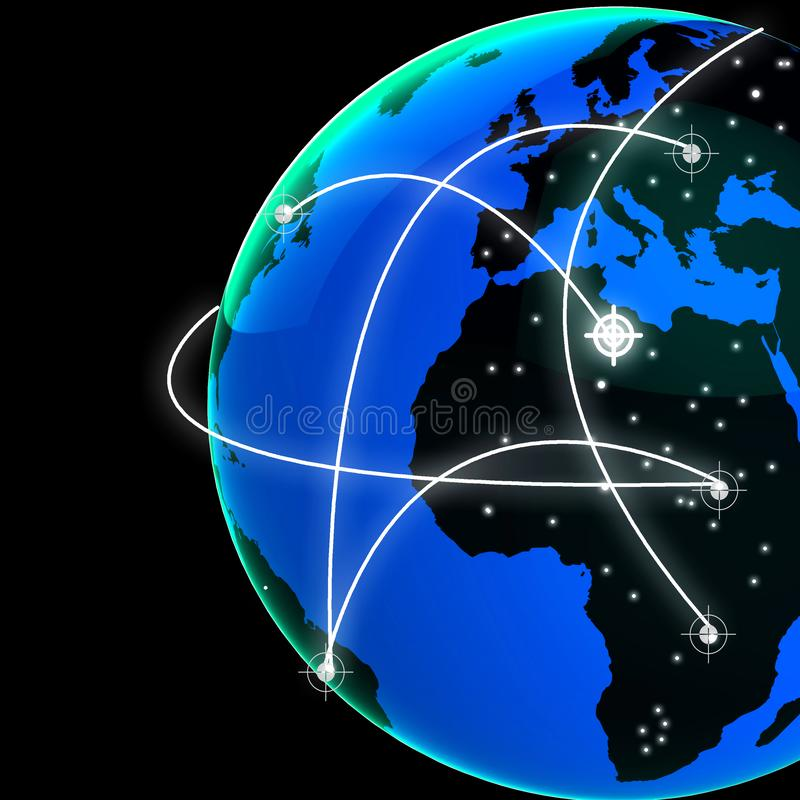 Rendição interconectada da relação 3d da tecnologia do mundo do globo ilustração do vetor