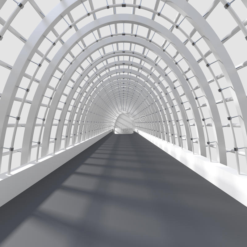 Rendição interior bonita - corredor longo ilustração do vetor