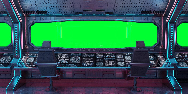 Rendição interior do fundo 3D da nave espacial do Grunge ilustração do vetor
