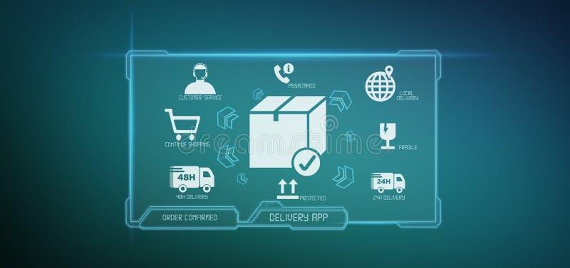Rendição logística da tela 3d da aplicação da entrega ilustração stock