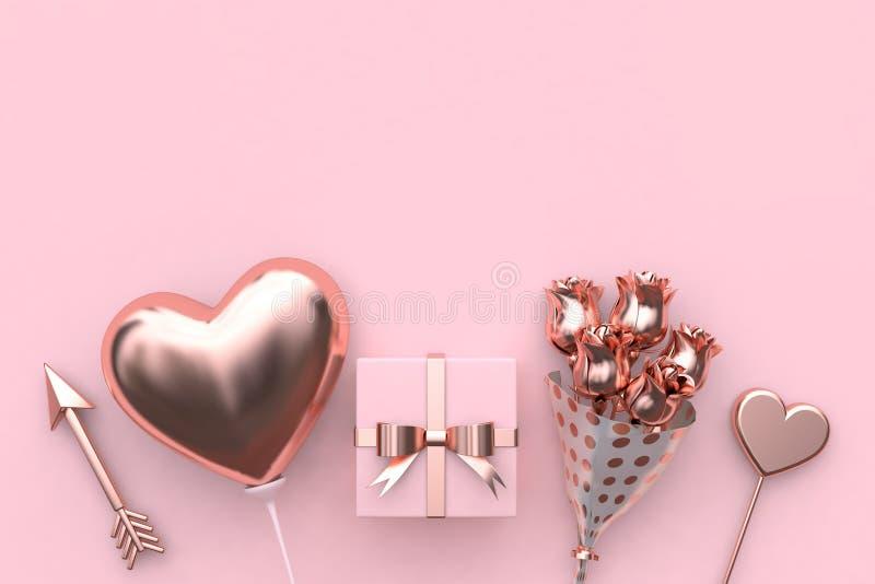 Rendição metálica do conceito 3d do Valentim do sumário da flor do presente do coração do balão da seta ilustração royalty free