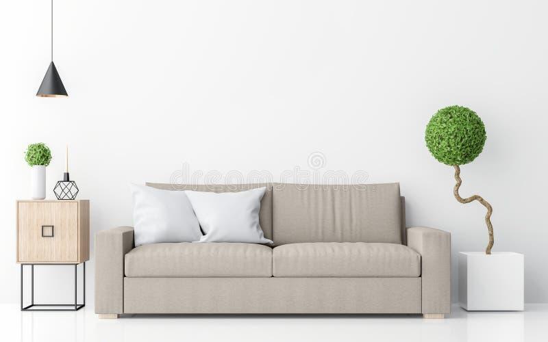 Rendição minimalista interior da imagem 3d do estilo da sala de visitas branca moderna ilustração stock