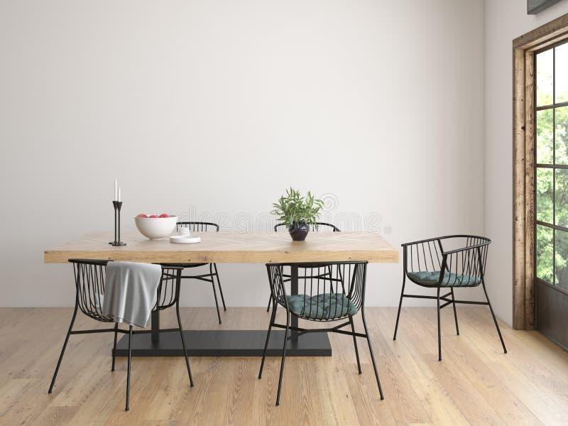 Rendição moderna do design de interiores 3D do estilo ilustração stock