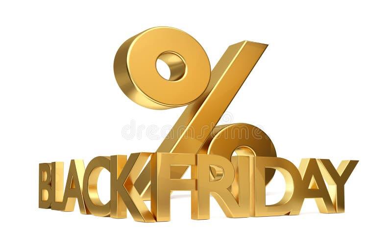 Rendição preta do símbolo 3d da porcentagem de sexta-feira ilustração do vetor