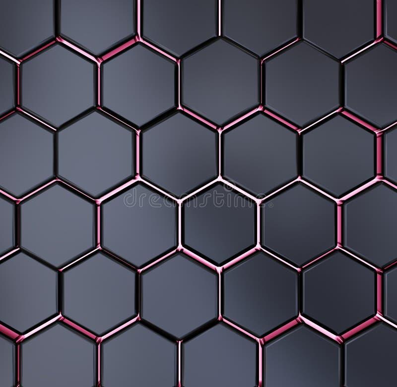 Rendição preta e vermelha abstrata do teste padrão 3d do fundo da textura do hexágono ilustração do vetor