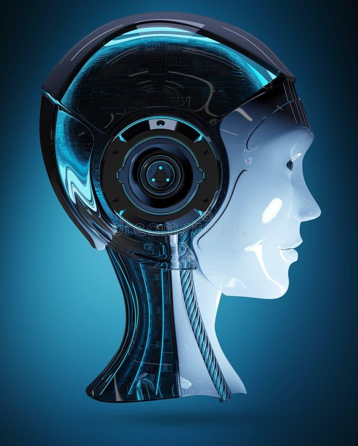 Rendição principal da inteligência artificial 3D do Cyborg ilustração royalty free