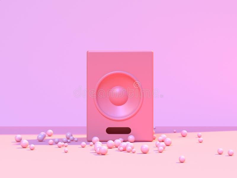 Rendição redonda do conceito 3d da música do orador da parede cor-de-rosa abstrata mínima do assoalho da cena ilustração stock