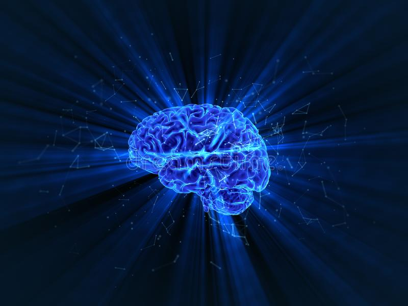 A rendição tridimensional de brilhar o cérebro humano foto de stock