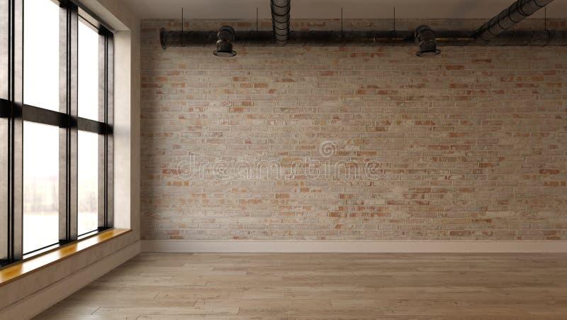 Rendição vazia interior da sala 3D fotografia de stock