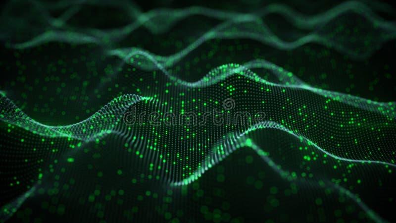 Rendição verde de incandescência da rede neural 3D ilustração royalty free