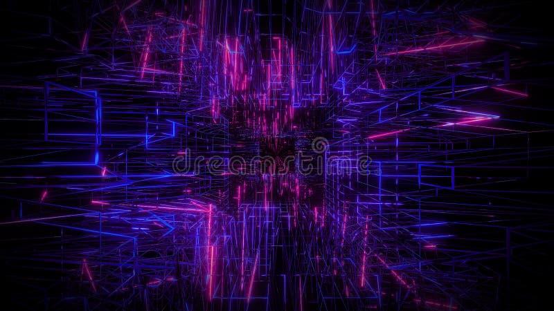 Rendição visual do fundo 3d do projeto do wireframe azul do rosa ilustração stock