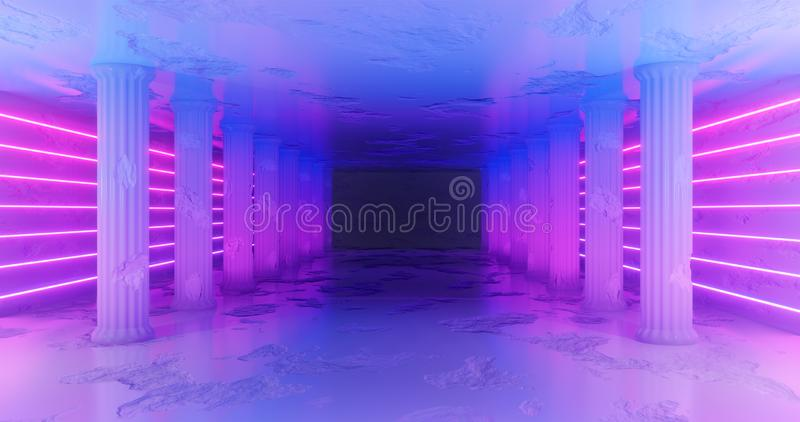 rendi??o 3d Corredor de mármore com as colunas danificadas com as listras de néon azuis e cor-de-rosa ao longo das paredes Fulgor ilustração stock