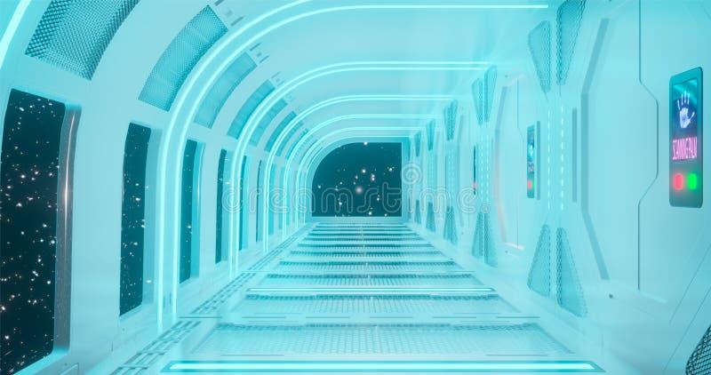 rendi??o 3d O corredor fantástico da estação espacial ou o interior futurista do navio de espaço em claro - iluminação de néon az imagem de stock royalty free