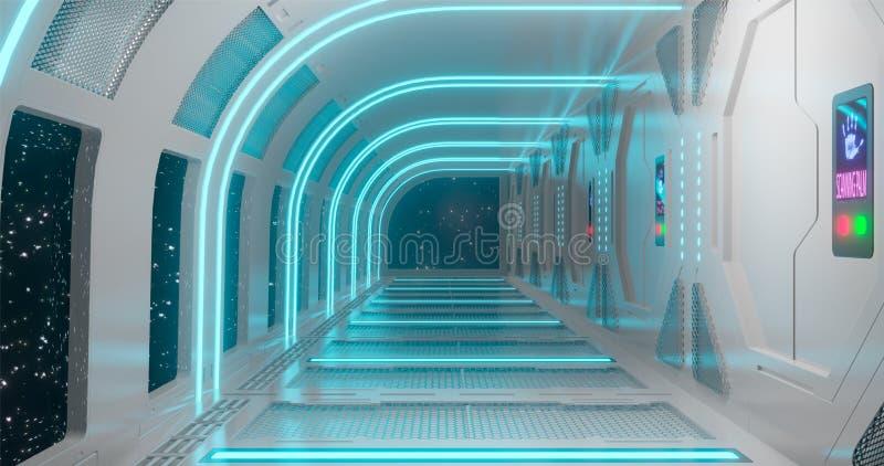 rendi??o 3d O corredor fantástico da estação espacial ou o interior futurista do navio de espaço em claro - iluminação de néon az fotografia de stock