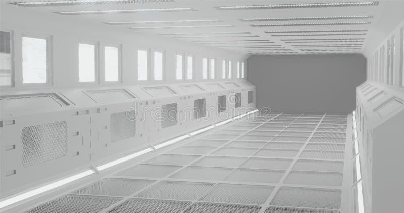 rendi??o 3d O corredor fantástico da estação espacial ou o interior futurista da nave espacial na iluminação de néon branca fotografia de stock royalty free