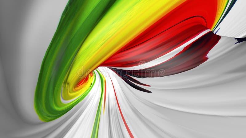 rendi??o 3D da forma torcida abstrata colorida no movimento Arte digital geom?trica gerada por computador 3d rendem ilustração do vetor