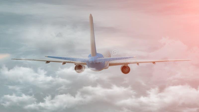 rendi??o 3D de um avi?o comercial no voo sobre as nuvens ilustração do vetor