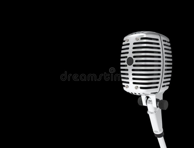 rendi??o 3D de um microfone cl?ssico do cromo do metal isolado no fundo preto ilustração royalty free